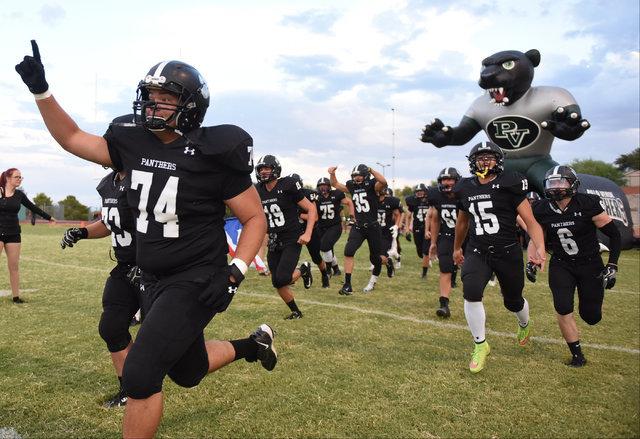 Palo Verde High School football players are introduced during their game against Las Vegas High School at the Palo Verde football field in Las Vegas on Friday, Aug. 26, 2016. The game was postpone ...