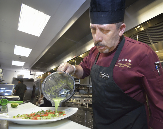 Chef Jose Marquez prepares callo agua chile verde featuring scallops at Olivia's Mexican Restaurant and Bar in the Boulevard Mall at 3554 S. Maryland Parkway in Las Vegas on Friday, July 29, 2016. ...