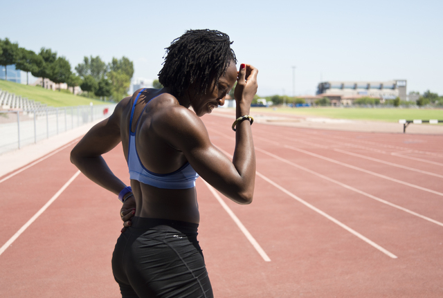 Uhunoma Osazuwa heads out onto the track during training at Myron Partridge Track Stadium at UNLV in Las Vegas on Tuesday, July 26, 2016. Osazuwa will be competing in the heptathlon for Nigeria du ...