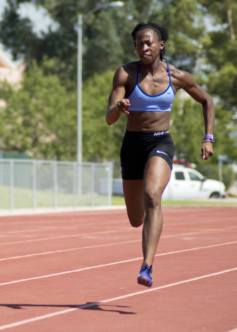Uhunoma Osazuwa trains at Myron Partridge Track Stadium at UNLV in Las Vegas on Tuesday, July 26, 2016. Osazuwa will be competing in the heptathlon for Nigeria during the 2016 Summer Olympic Games ...