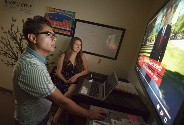 Enrique Villar, president of Radioactive Productions, left, and Lora Hendrickson, vice president, are shown at work in their offices in Las Vegas on Tuesday, Aug. 16, 2016. (Bill Hughes/Las Vegas  ...