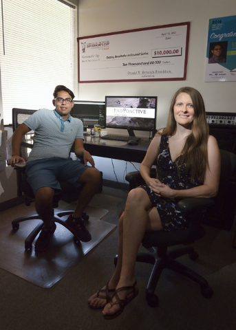 Enrique Villar, president of Radioactive Productions, left, and Lora Hendrickson, vice president, in their offices in Las Vegas on Tuesday, Aug. 16, 2016. (Bill Hughes/Las Vegas Review-Journal)