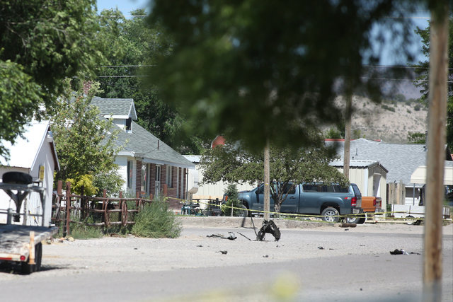 Shrapnel from a Wednesday-night bombing that killed one person sits on a street in Panaca, Nev., on Thursday, July 14, 2016. (Brett Le Blanc/Las Vegas Review-Journal) Follow @bleblancphoto