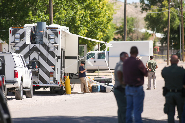 Police investigate shrapnel from a Wednesday-night bombing that killed one person on 5th Street in Panaca, Nev., on Thursday, July 14, 2016. (Brett Le Blanc/Las Vegas Review-Journal)