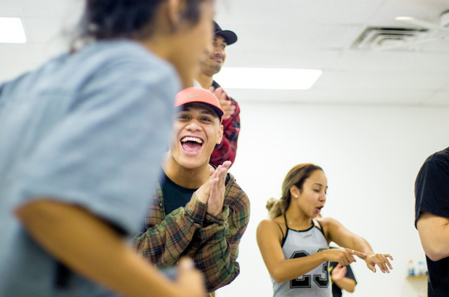 Dancers in the New Zeland dance crew, The Royal Family created by Parris Goebel, an award winning New Zealand-born choreographer, dancer, and now singer, free style for new choreography during pra ...
