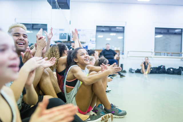Dancers in a New Zeland dance crew created by Parris Goebel, an award winning New Zealand-born choreographer, dancer, and now singer, cheer their fellow dancers on while they practice their routin ...