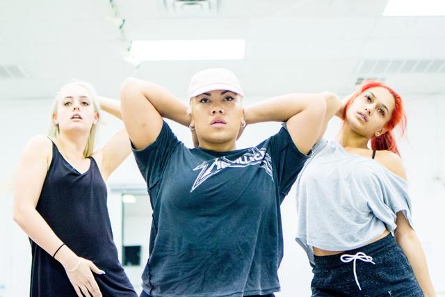 Parris Goebel, center, award winning New Zealand-born choreographer, dancer and singer, leads practice at Backstage Dance Studio in Las Vegas Friday afternoon Aug. 5,2016. Elizabeth Brumley/Las Ve ...