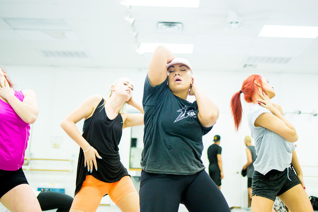 Parris Goebel, center, award winning New Zealand-born choreographer, dancer and singer, leads practice at Backstage Dance Studio in Las Vegas Friday afternoon Aug. 5,2016. Elizabeth Brumley/Las Ve ...