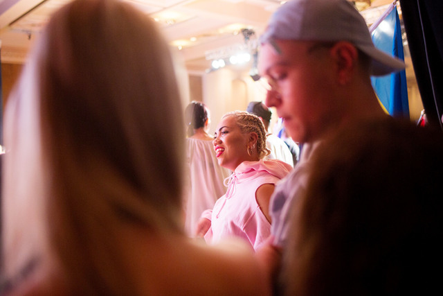 "Parris Goebel, an award winning New Zealand-born choreographer, dancer, and now singer, waits to watch the debut of her first single of the Parris Project, ""Friday"", that premired at the Casablanc ..."