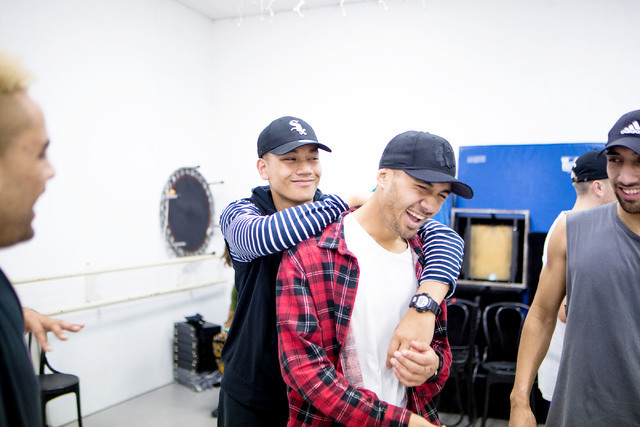 Dancers in the New Zeland dance crew, The Royal Family created by Parris Goebel, an award winning New Zealand-born choreographer, dancer, and now singer, laugh during practice at Backstage Dance S ...