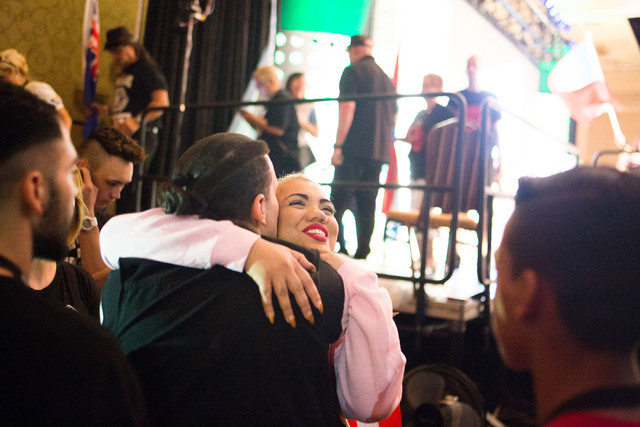 Parris Goebel, an award winning New Zealand-born choreographer, dancer, and now singer, receives a hug from a friend moments after the debut of her first single of the Parris Project, Friday, that ...