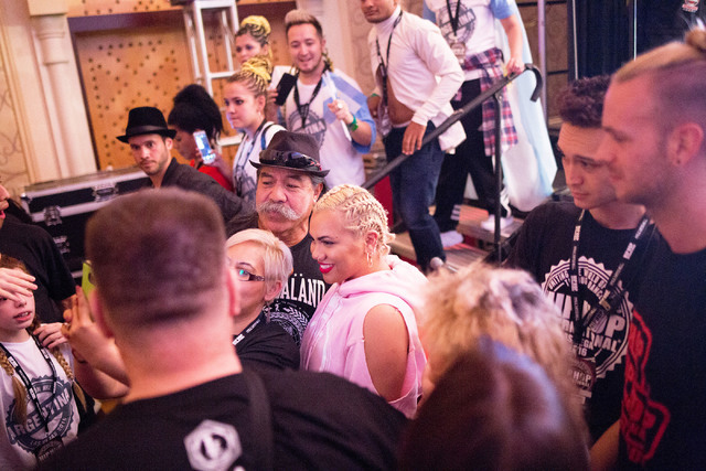 Parris Goebel, an award winning New Zealand-born choreographer, dancer, and now singer, takes photos with fans and fellow dancers after the debut of her first single of the Parris Project, Friday, ...