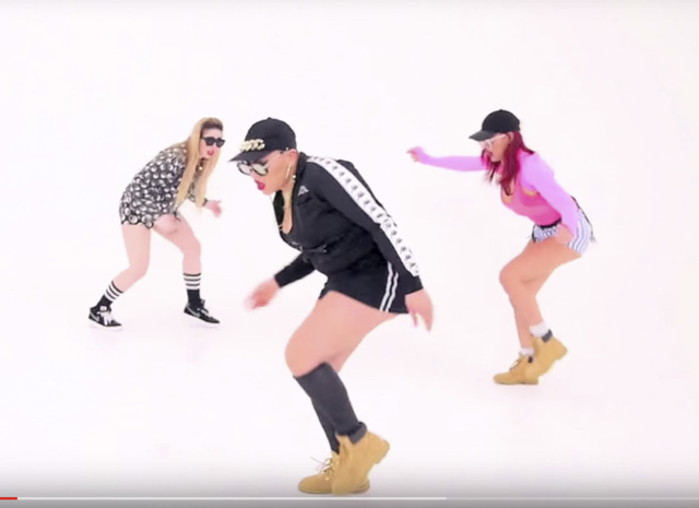Screen grab from Justin Bieber video featuring Parris Goebel in black.