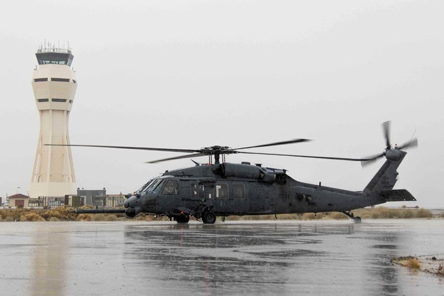 An HH-60G Pave Hawk helicopter from Nellis Air Force Base — similar to this one shown at Edwards Air Force Base, Calif. — crashed at 10 p.m. Thursday, Aug. 18, 2016, at the Nevada Test and Tra ...