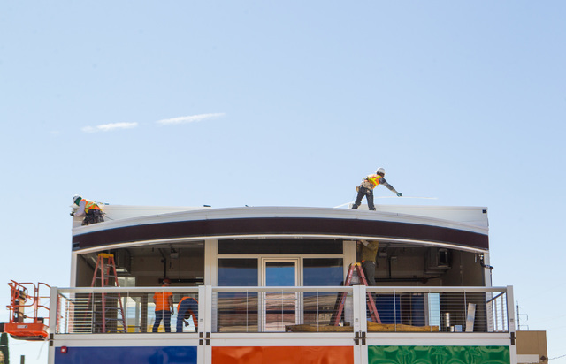 "Construction progresses on Pawn Plaza, a Container Park-inspired restaurant and retail shopping complex planned by Rick Harrison of ""Pawn Stars,"" in downtown Las Vegas, June 17, 2015. (Chase Steve ..."