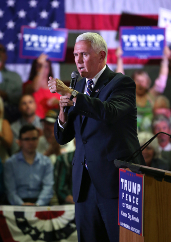 Republican vice presidential candidate Gov. Mike Pence, R-Ind., speaks to a crowd of about 400 people in Carson City, Nev., on Monday, Aug. 1, 2016. Cathleen Allison/Las Vegas Review Journal