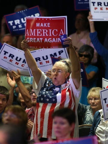 A crowd of about 400 people attend a rally as Republican vice presidential candidate Gov. Mike Pence, R-Ind., speaks in Carson City, Nev., on Monday, Aug. 1, 2016. Cathleen Allison/Las Vegas Revie ...