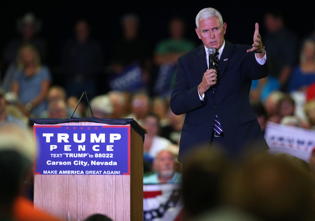 Republican vice presidential candidate Gov. Mike Pence, R-Ind., speaks at a rally in Carson City, Nev., on Monday, Aug. 1, 2016. Cathleen Allison/Las Vegas Review Journal