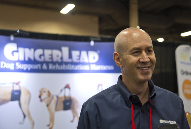Barry Rubenetein, the owner of GingerLead speaks with media during the SuperZoo Trade Show at the Mandalay Bay Convention Center on the Las Vegas Strip on Tuesday, Aug. 2, 2016. (Daniel Clark/Las  ...