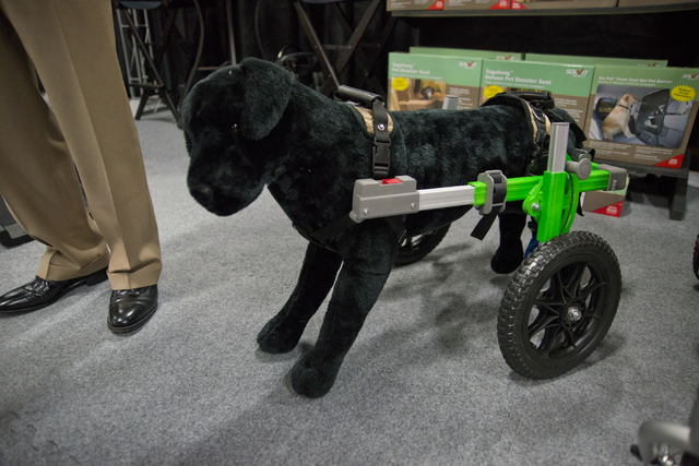 A prototype wheelchair designed for dogs sits on display during the SuperZoo Trade Show at the Mandalay Bay Convention Center on the Las Vegas Strip on Tuesday, Aug. 2, 2016. (Daniel Clark/Las Veg ...