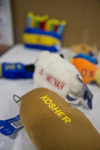 Jewish themed dog toys sit on display during the SuperZoo Trade Show at the Mandalay Bay Convention Center on the Las Vegas Strip on Tuesday, Aug. 2, 2016. (Daniel Clark/Las Vegas Review-Journal)  ...