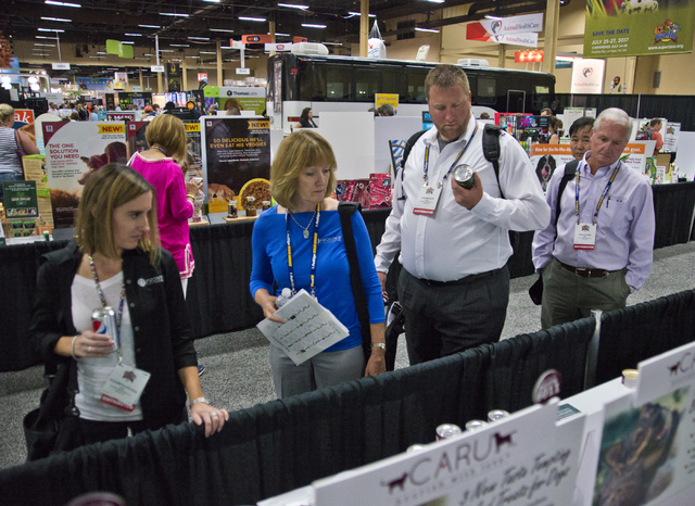 """Attendees browse the """"New Product Showcase"""" during the SuperZoo Trade Show at the Mandalay Bay Convention Center on the Las Vegas Strip on Tuesday, Aug. 2, 2016. Daniel Clark/Las ..."""