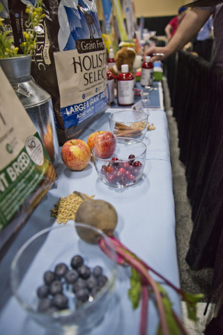Superfoods for pets sit on display during the SuperZoo Trade Show at the Mandalay Bay Convention Center on the Las Vegas Strip on Tuesday, Aug. 2, 2016. (Daniel Clark/Las Vegas Review-Journal) Fol ...
