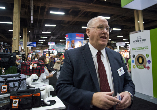 World Pet Association President Doug Poindexter speaks with media during the SuperZoo Trade Show at the Mandalay Bay Convention Center on the Las Vegas Strip on Tuesday, Aug. 2, 2016. (Daniel Clar ...