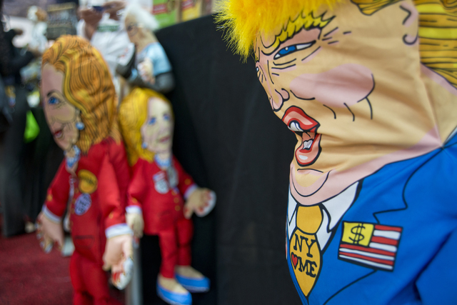 Donald Trump and Hillary Clinton dog toys sit on display during the SuperZoo Trade Show at the Mandalay Bay Convention Center on the Las Vegas Strip on Tuesday, Aug. 2, 2016. (Daniel Clark/Las Veg ...