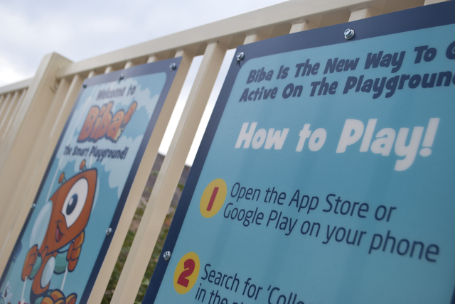 Instructions are shown at the new Biba smart playground that incorporates a Pokemon Go type app at Burkholder Park in Henderson on Friday, Aug. 19, 2016. Daniel Clark/Las Vegas Review-Journal Foll ...