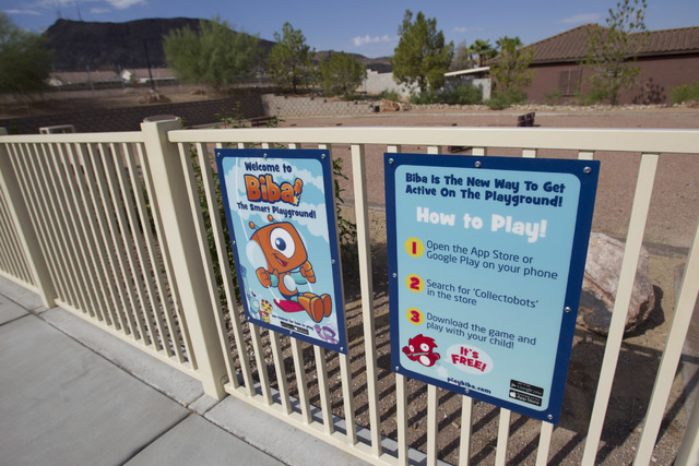 Instructions for the Biba smart playground are shown at Burkholder Park located at 645 W. Victory Road in Henderson on Thursday, Aug. 18, 2016. Richard Brian/Las Vegas Review-Journal Follow @vegas ...