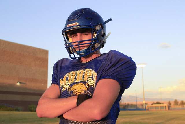 Moapa Valley High School center Cameron Larsen pauses for a photo during team practice at the school in Overton, Nev. on Wednesday, Aug. 17, 2016. Richard Brian/Las Vegas Review-Journal Follow @ve ...