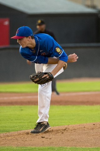 Desert Oasis Aces pitcher Brett Brocoff pitches against the Southern Nevada Blue Sox at the Earl E. Wilson Baseball Stadium on the campus of UNLV in Las Vegas on Saturday, July 30, 2016. (Joshua D ...