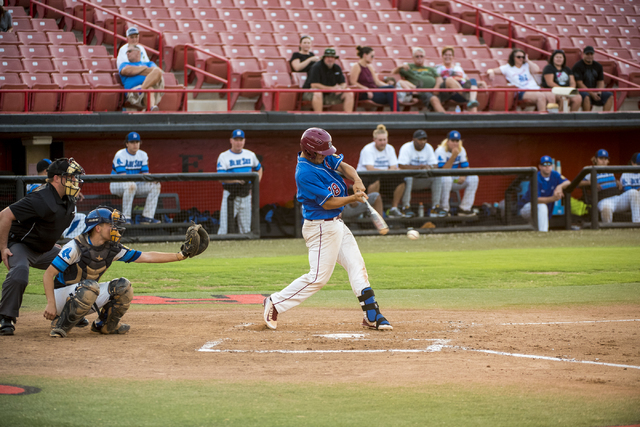 Desert Oasis Aces first base Isaiah Ralano (18) swings at a pitch while playing against the Southern Nevada Blue Sox at the Earl E. Wilson Baseball Stadium on the campus of UNLV in Las Vegas on Sa ...