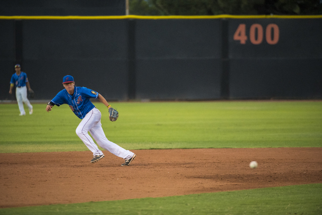 Desert Oasis Aces infielder Bryson Stott chases a ball while playing against the Southern Nevada Blue Sox at the Earl E. Wilson Baseball Stadium on the campus of UNLV in Las Vegas on Saturday, Jul ...