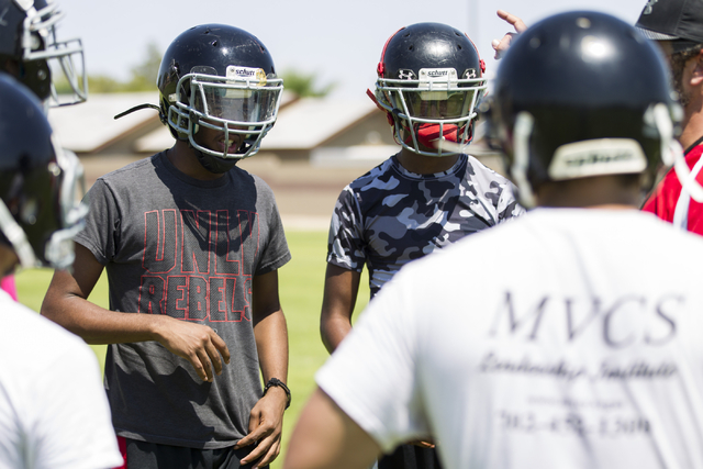 Tyrell Brooks, left, 16, and his twin brother Terrence, attend a team football practice at Mountain View Christian High School on Tuesday, Aug. 23, 2016, in Las Vegas. Erik Verduzco/Las Vegas Revi ...