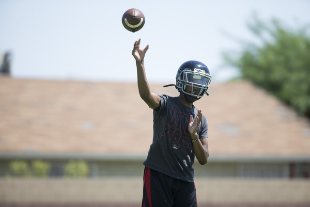 Tyrell Brooks makes a pass during a team football practice at Mountain View Christian High School on Tuesday, Aug. 23, 2016, in Las Vegas. Erik Verduzco/Las Vegas Review-Journal Follow @Erik_Verduzco