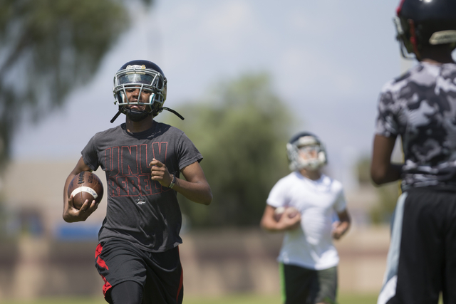 Tyrell Brooks runs sprints during a team football practice at Mountain View Christian High School on Tuesday, Aug. 23, 2016, in Las Vegas. Erik Verduzco/Las Vegas Review-Journal Follow @Erik_Verduzco