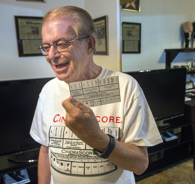 CinemaScore founder Ed Mintz holds a movie survey card in his Las Vegas home on Wednesday, Aug. 24, 2016. Jeff Scheid/Las Vegas Review-Journal Follow @jeffscheid