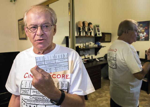 CinemaScore founder Ed Mintz holds a movie survey card in his Las Vegas home on Wednesday, Aug. 24, 2016. Jeff Scheid/Las Vegas Review-Journal Follow @jeffscheid