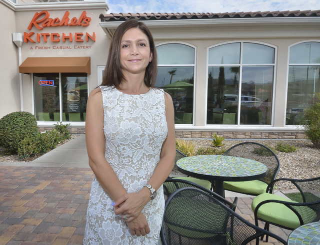 Debbie Roxarzade, founder and CEO of Rachel's Kitchen, is shown at the grand opening of the company's latest franchise at the Hilton Garden Inn at 1340 W. Warm Springs Road in Henderson on Mon ...