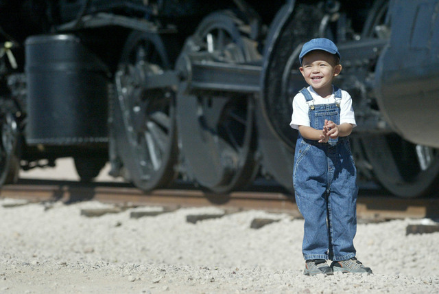 Joshua McDonald gets excited while exploring the trains at the Nevada State Railroad Museum in Boulder City, Monday, Sept. 4, 2006. The museum is planning to offer train rides on the weekends unti ...