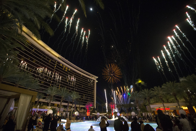Guests watch the fireworks show during the Red Rock Resort 10th birthday celebration at Red Rock casino-hotel on Saturday, April 16, 2016, in Las Vegas. Erik Verduzco/Las Vegas Review-Journal Foll ...