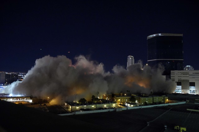 A cloud of dust rises after the Riviera's Monte Carlo Tower is imploded along with the property's remaining structures early Tuesday August 16, 2016. (Sam Morris/Las Vegas News Bureau)