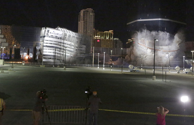 The final tower of the Riviera hotel-casino come tumbling down during an implosion on Tuesday, Aug. 16, 2016, to make way for the Las Vegas Convention Center. Bizuayehu Tesfaye/Las Vegas Review-Jo ...