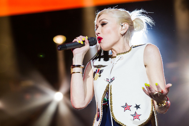 Gwen Stefani of No Doubt performs on the main stage during Rock in Rio in the early hours of Saturday, May 9, 2015, in Las Vegas. (Chase Stevens/Las Vegas Review-Journal)