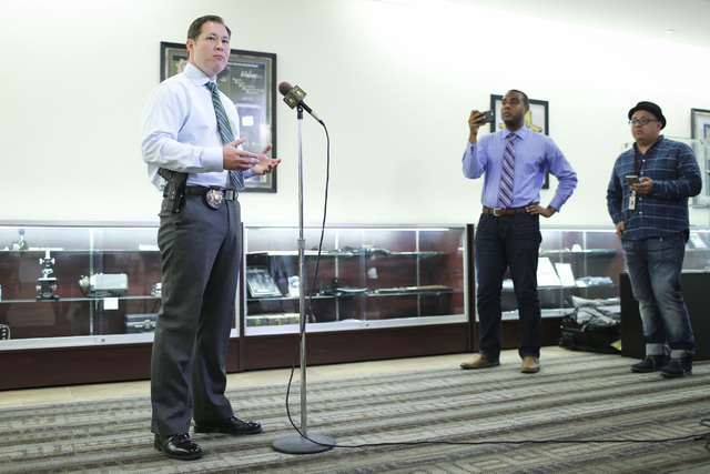 Detective Robert Sigal, with Metro's animal cruelty unit, speaks with the media at Metro headquarters in Las Vegas on Thursday, Aug. 4, 2016, about a rooster fighting ring that was busted on Wedne ...