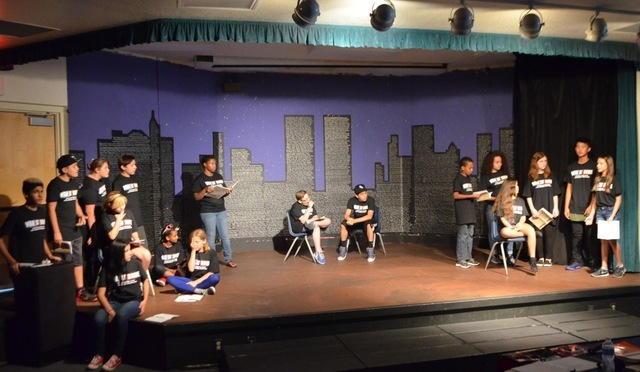 "The background on the stage at Sawyer Middle School was created during the school's first production of ""The War at Home"" about 10 years ago. Once the play was done drama instructor Amy Roberge sa ..."