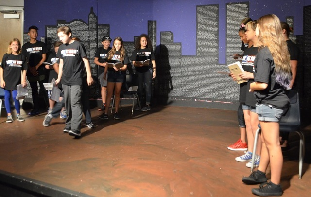 "Sawyer Summer Theatre participants rehearse for the school's upcoming production of ""The War at Home"" Aug. 3, 2016. Ginger Meurer/View"