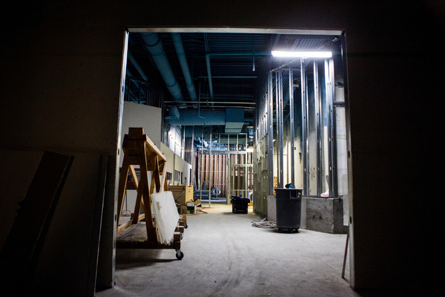The interior of the Sea Quest Aquarium is seen under construction at the Boulevard Mall in Las Vegas, Monday, Aug. 29, 2016. The Sea Quest Aquarium is slated to open in late November. (Miranda Ala ...